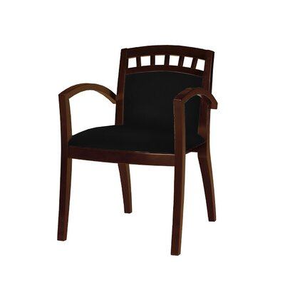 Leather Guest Chair Seat Color: Black, Frame Finish: Bourbon Cherry Veneer