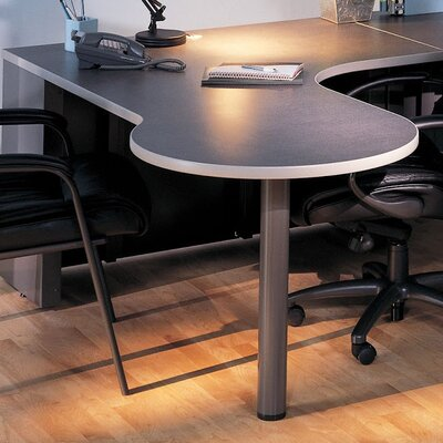 P Table Base Finish: Medium Tone / Greytone, Top Finish: Windswept Pewter / Warm Gray, Orientation: Left