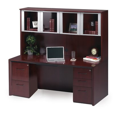 Corsica Series Computer Desk Glass Door Hutch Sierra Product Photo