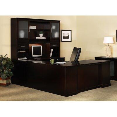 Mayline Sorrento Series U-Shape Executive Desk with Hutch - Finish: Espresso Veneer Orientation: Right