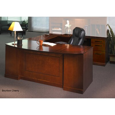 Sorrento Series U-Shape Executive Desk Finish: Bourbon Cherry Veneer, Orientation: Right Product Image 9