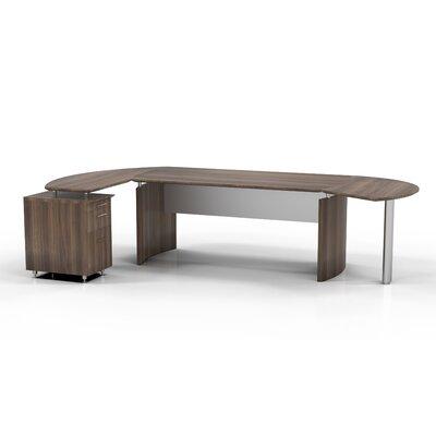 "Medit Executive Desk Orientation: Left, Finish: Textured Brown Sugar, Size: 29.5"" H x 116"" W x 63"" D"