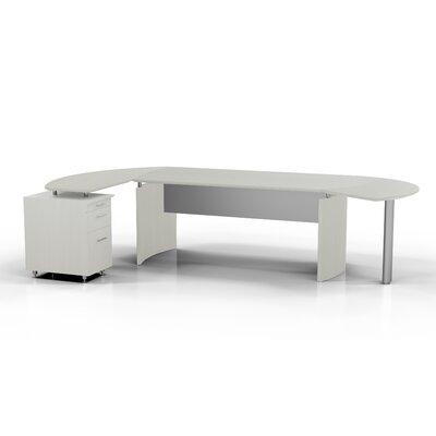 Mayline Medit Computer Desk w/ Curved Return w/ Pencil / Box / File Pedestal & ctr Drawer -Finish:Textured Sea Salt, ...