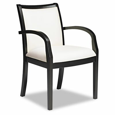 Leather Guest Chair Seat Color: Cream, Frame Finish: Espresso Veneer