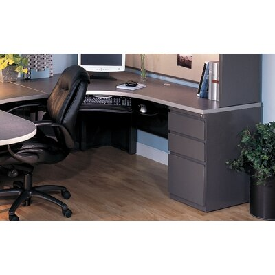 30 H x 72 W Left Desk Return Base Finish: Medium Tone / Greytone, Top Finish: Windswept Pewter / Warm Gray, Orientation: Left