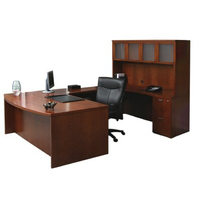 Mira Series U-Shape Executive Desk Finish: Medium Cherry, Number of Drawers: 3 Product Picture 32