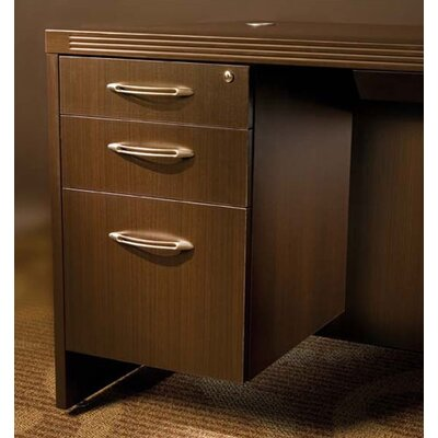 Aberdeen 3-Drawer Suspended Credenza Pencil Box/Box File Pedestal Finish: Cherry