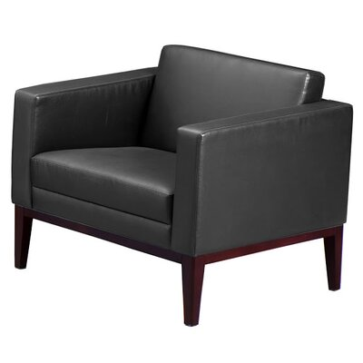 Prestige Leather Lounge Chair Wood Finish: Mahogany, Leather Color: Black