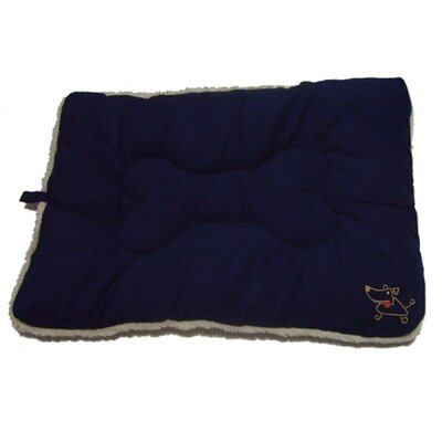 "Crate Dog Mat Size: Medium (30"" L x 19"" W), Color: Navy Blue"