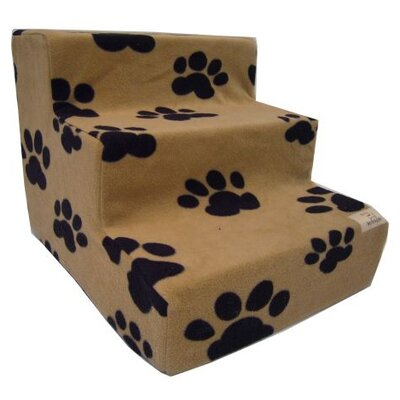 Pet Stairs in Beige Fleece Number of Steps: 3-Steps
