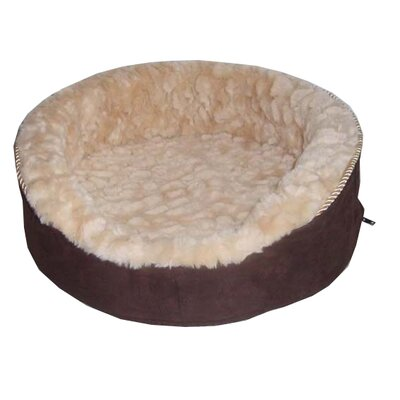 Plush Bolster Dog Bed Size: Large (28 L x 22 W), Color: Light Brown