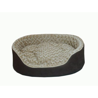 "Plush Bolster Dog Bed Size: Large (28"" L x 22"" W), Color: Dark Brown"