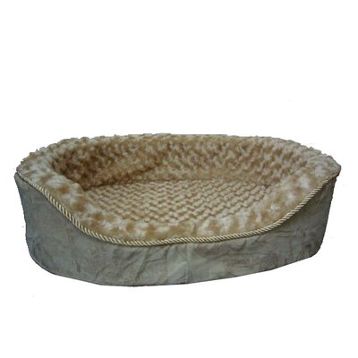 Plush Bolster Dog Bed Size: Medium (22 L x 16 W), Color: Light Brown