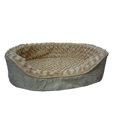 Plush Bolster Dog Bed Size: Medium (22 L x 16 W), Color: Light Brown