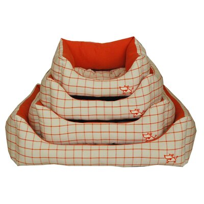 "Orange Checker Bolster Dog Bed Size: Extra Large (32"" L x 28"" W)"
