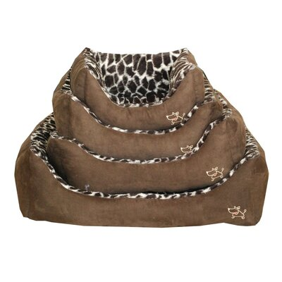 "Animal Print Bolster Dog Bed Size: Large (26"" L x 24"" W)"