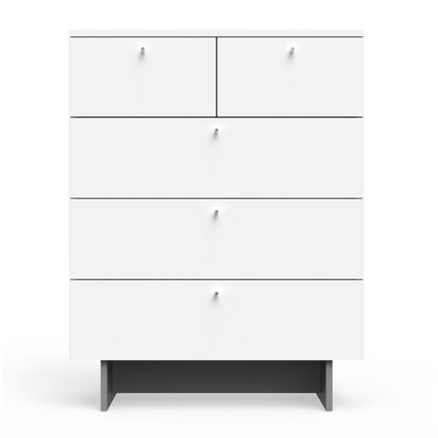 Roh 5 Drawer Dresser Color: White
