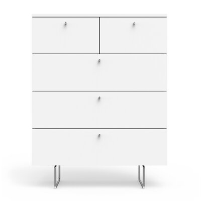Alto 5 Drawer Chest Finish: White