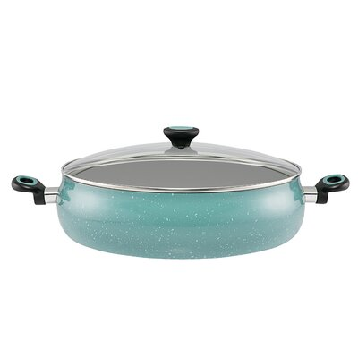 10 qt. Riverbend Aluminum Non-Stick Covered Saute Pan with Lid Color: Gulf Blue