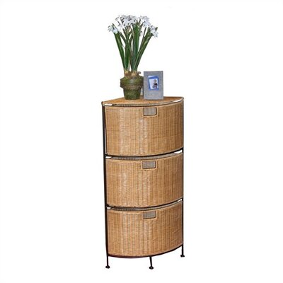 Wicker Corner 3 Drawer Unit