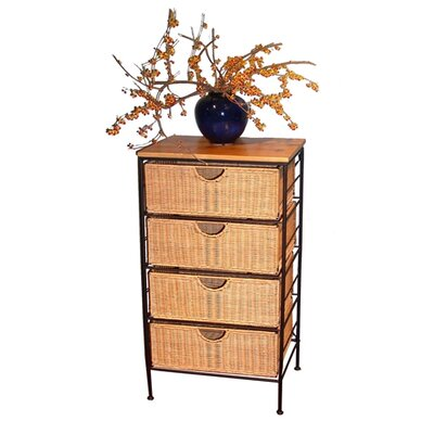 4 Drawer Wicker Stand in Wicker and Metal