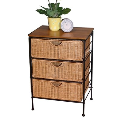 Wicker 3 Drawer Stand
