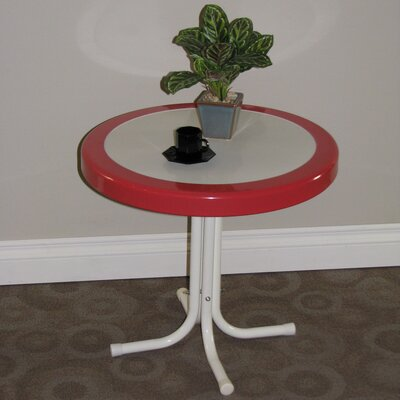 Metal Retro Round Side Table Finish: Red Coral and White