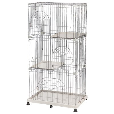 Wire Cat Cage Finish: Silver, Size: 3 Tier
