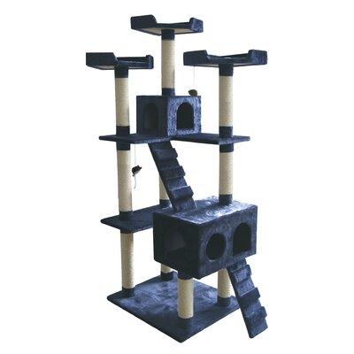 72 Carpeted Cat Tree Color: Navy