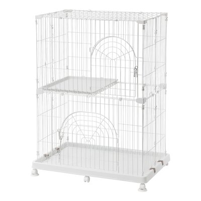 Wire Cat Cage Finish: White, Size: 2 Tier