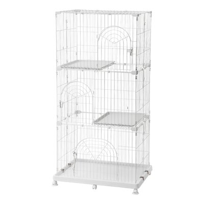 Wire Cat Cage Finish: White, Size: 3 Tier