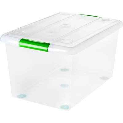 61 Quart Store and Slide Storage Box Color: Green/Clear