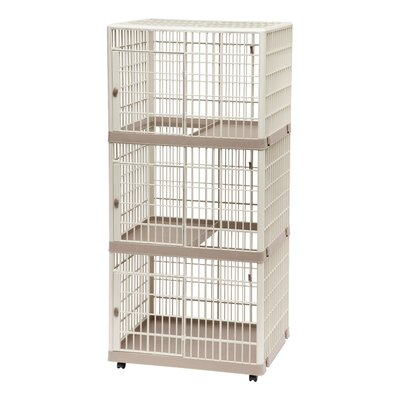 3-Tier Cat Cage with Wheels Color: Tan