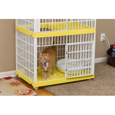 2-Tier Cat Cage with Wheels Color: Yellow