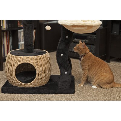 "40"" Plush and Wicker Cat Tree 350034"