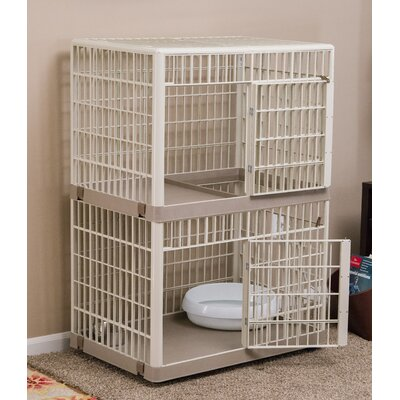 2-Tier Cat Cage with Wheels Color: Tan