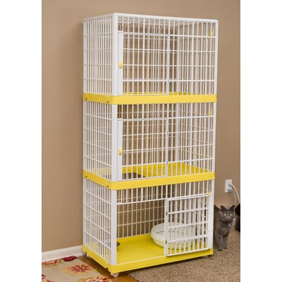 3-Tier Cat Cage with Wheels Color: Yellow