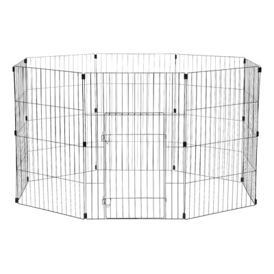 Wire Pet Pen Color: Black, Size: Small (36 H x 24 W x 60 L)