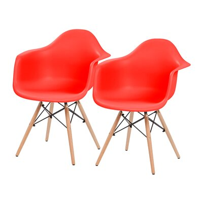 Shell Armchair Upholstery: Red