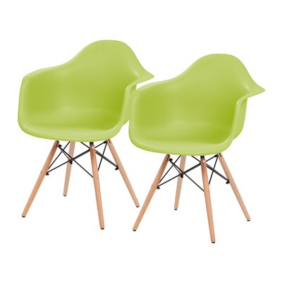 Shell Side Side Chair Upholstery: Green