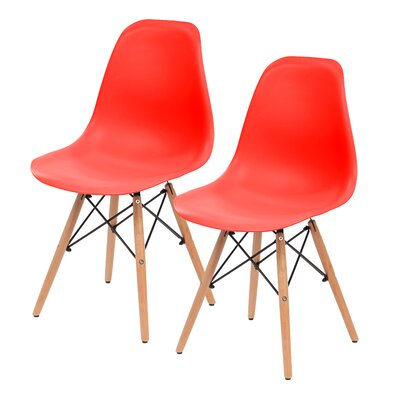 Shell Side Chair Upholstery: Red