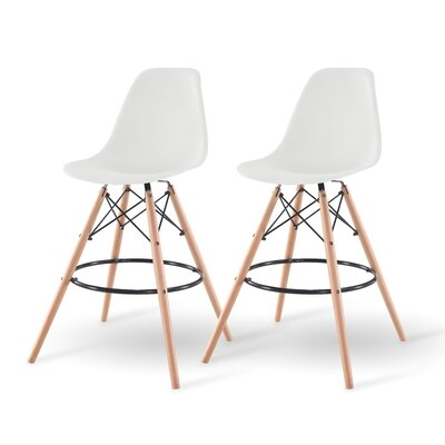 Shell Bar Stool Finish: White