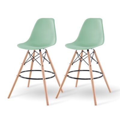 Shell Bar Stool Finish: Light Green