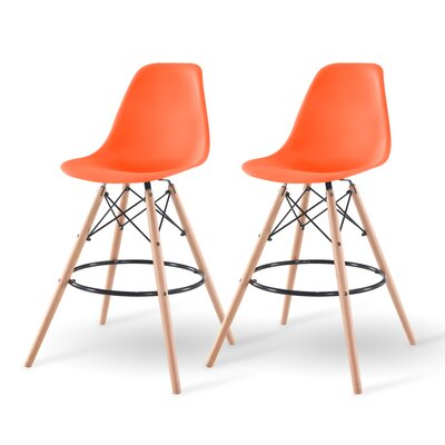 Shell Bar Stool Finish: Orange