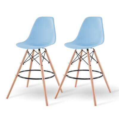 Shell Bar Stool Finish: Blue