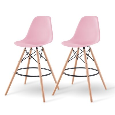 Shell Bar Stool Finish: Pink