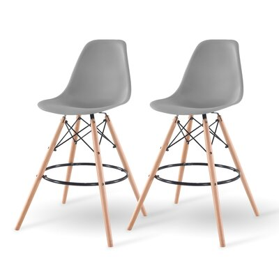 Shell Bar Stool Finish: Gray