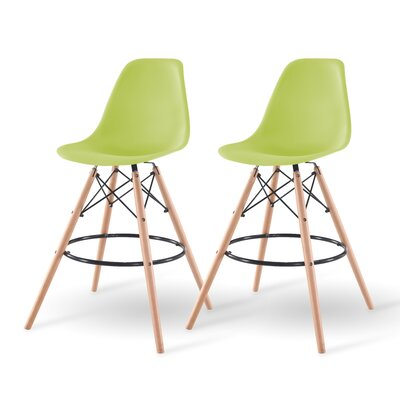 Shell Bar Stool Finish: Green