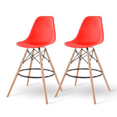 Shell Bar Stool Finish: Red
