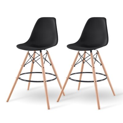 Shell Bar Stool Finish: Black
